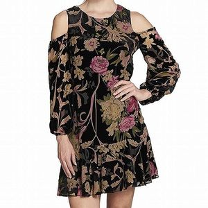 Eliza J Trendy Cold Shoulder Velvet Floral Dress
